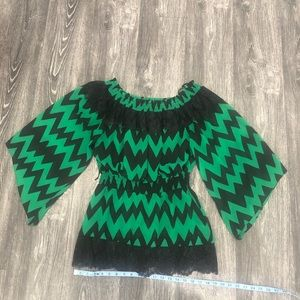 Off the shoulder chevron print top w/ bell sleeves